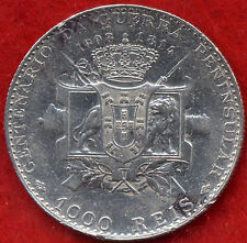 RARE PENINSULAR WAR 1000 REIS SILVER PORTUGAL COIN 1910 VF Only Minted 200.000!!