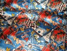 Medley Print Denim-Tartan Zipper Stretch Charmeuse Satin Fabric