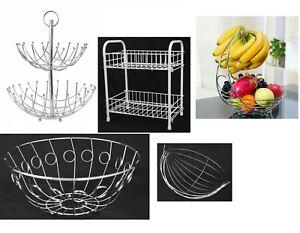 New 2 in 1 Banana Hook Tree Fruit Bowl Basket Hanger Stand Dinning Table Storage