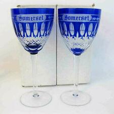 "Bohemian Somerset Cobalt Blue Crystal Wine Glasses 7"" Tall (2) NIB"