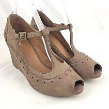 Nicole high heels wedge pump 8.5 wingtip peep toe ankle t strap brogue tan beige