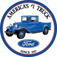 Ford Round Tin Sign America's # 1 Truck Desperate MADE IN USA 1009 f100