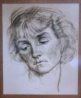 Augustus John, British Portrait of a Lady, 20thC  Antique Painting Drawing Print