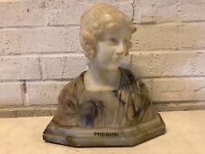 "Antique ""Mignon"" Italian Carved Alabaster Bust with Signature"