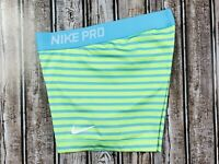 Women's Nike Dri Fit Volleyball Performance Green Blue Striped Shorts Size Small