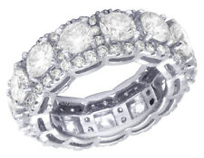 14K White Gold Real Diamond Halo Solitaire Eternity Wedding Ring Band 9 CT 9MM