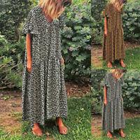 ZANZEA Womens Leopard Print V Neck Long Dress Kaftan Ladies Party Maxi Dresses