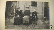 RPPC, 2 French Women Knitting and Boy with Hoop Toy, Matted  Lot #6287.2