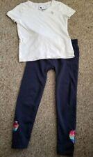 Abercrombie White Short Sleeved Top Navy Blue Sequined Heart Leggings Girls 5-6