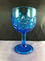 VINTAGE IMPERIAL BLUE GLASS HOBSTAR FOOTED COMPOTE