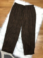 New Alfred Dunner Print Pull On Pants Womens 26W Brown Black Elastic Waist Rayon