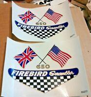 650 FIREBIRD Scrambler crossed flags side panel transfers, 1968 BSA A65F, pair