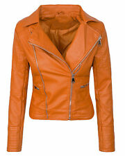 Designer Women's Faux Leather Jacket Between-Seasons Look Biker D-287 New