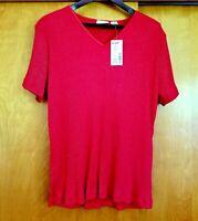 FASHION BUG Red V-Neck Short Sleeve Stylish Top Blouse Plus Size 18 / 20W NWT