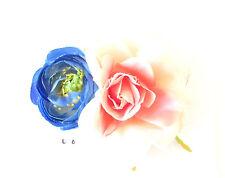Blanco Rosa Azul Camelia Flor De Rosa Peineta Ranúnculo Rockabilly 1950s 554