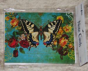 "LEANIN TREE ""Butterfly n Roses""~Pack of 8 Notecards #35592~Jena DellaGrottaglia~"