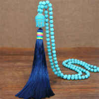 Buddha Handmade Turquoise Tassel Necklace Jewelry Women Classic Party Cultured
