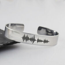 Sound Wave Cuff Bracelet - Stainless Steel - Actual Audio File Music Words