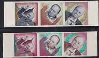 YEMEN 6 JUNE 1965 WINSTON CHURCHILL ALL 6 IMPERFORATE COMMEMORATIVE STAMPS MNH
