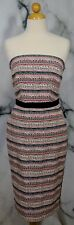 THE LIMITED Beige Pink Blue Black Patterned Striped Strapless Dress 0 Lined