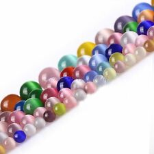 Assorted Fiber Optic Cat's Eye Round Stone Beads For Jewelry Making 14