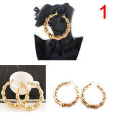 High Large Bamboo Joint Hoop Earrings Hip-Hop Gold Tone Ladies Big Circle HoM7
