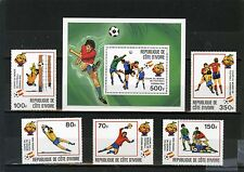 IVORY COAST 1981 Sc#600-605 SOCCER WORLD CUP SPAIN SET OF 5 STAMPS & S/S MNH