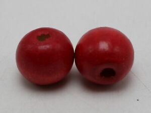 25 Red Round Wood Beads 20mm Large Wooden Beads