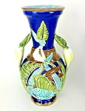 Fitz and Floyd Majolica Vase 1994 Adapted from an 1800'S Design 15 inches tall
