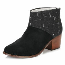 NEW Toms Leila Ankle Boots Women's 8.5 Black Suede Dotted Wool $100