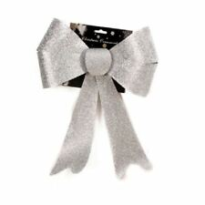 Outdoor Christmas Glitter Bow. Alternative to Wreath. 3 Colours Silver 60556