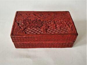 Antiguo Rotlack Lata China 19.Jhd. Paisaje Quing Schnitzlack Asiática 16cm