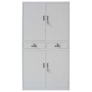 Office Storage Cupboard Metal Filing Cabinet Furniture 2 Drawers 4 Door Lockable