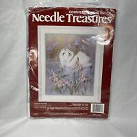 "Needle Treasures Countless Cross Stitch Kit Swans in Iris Pond 16""x20"" USA Made"
