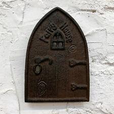 Cast Iron Magical Fairy Door Garden Decorative Sculpture Ornament Wall Plaque