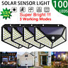 100 LED Solar Power PIR Motion Sensor Wall Lights Outdoor Garden Lamp Waterproof