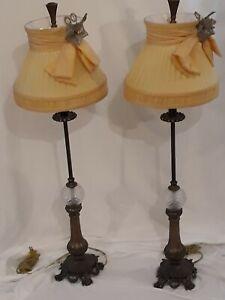 """Horchow Neimans John-Richard Crystal Column Buffet Lamp Pair 37.5"""" Silk Shades"""