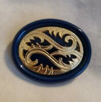 Vintage Oval Navy Goldtone openwork Brooch pin statement