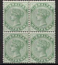GIBRALTAR SG39 1898 ½d GREY-GREEN MTD MINT BLOCK OF 4(2xUM)