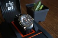 EDOX CLASS-1 83005-TINR-NIR, 500m, Titanium, Automatic Day-Date, Men's Watch