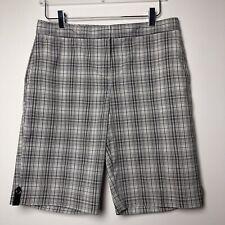 Izod Performx Grey Plaid Shorts Size 10 COOL-FX Pockets Front Zip Longer Length