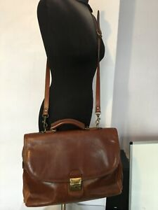 GIANNI CONTI GENUINE LEATHER BROWN TAN LARGE MESSENGER CROSS BODY BAGS MENS