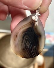 """Brown Banded Agate 925 Sterling Silver Bail Pendant, 1 7/8"""""""