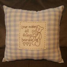 country primitive pillow teddy bear heart Sofa cushion love blue