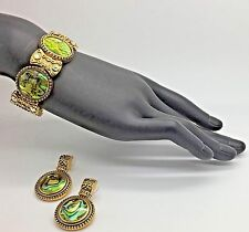 Butler Fifth Avenue Collection Green Paua Shell Gold Tone Bracelet Clip Earrings