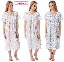 LADIES POLY COTTON FLORAL SPRIG SHORT SLEEVE NIGHTIE SIZES 10- 30 PLUS SIZES
