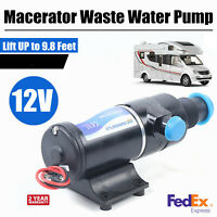 12V RV Mount Macerator Waste Water Pump 45LPM Boat RV Marine Lift UP to 9.8 Feet