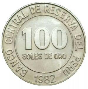 1982 PERU 100 SOLES UNC LARGE COPPER NICKEL VINTAGE LATIN COIN KM 283