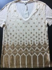 New Fossil women blouse Top Jordan Embellished Champagne Size M $54