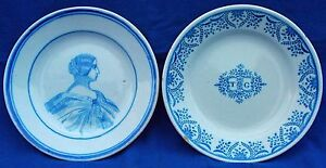 Superb 19th century French faïence fine portrait plate and companion  circa 1860